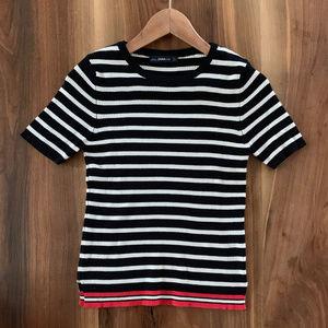 Zara knit black and white stripe T shirt